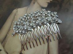 1920s style leaf crystal set art deco by MySugarSpunSister on Etsy