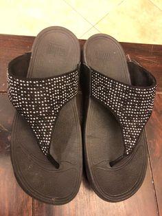 f6ac5219307da FITFLOP Women s Size 9 Medium Black  Silver sparkling straps Thong Sandals   fashion  clothing