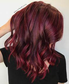 Spicy Burgundy Balayage Hair