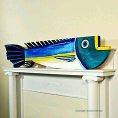 Big Blue Fish Mississippi Folk Art by TaylorArts Folk Art Fish, Fish Wall Art, Fish Art, Fish Crafts, Beach Crafts, Driftwood Fish, Deco Marine, Wooden Fish, Wood Carving
