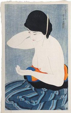 A woodblock print by Ito Shinsui, Make-up, at Scholten Japanese Art. Japanese Illustration, Illustration Art, Art Asiatique, Alphonse Mucha, Korean Art, Japanese Painting, Japanese Prints, Japan Art, Gravure