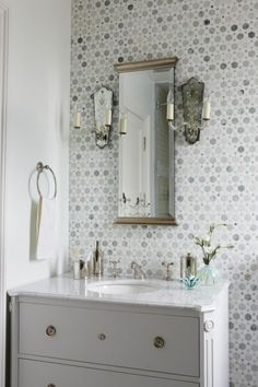 What a great idea....#tile the entire wall behind the vanity!! #TileSensations