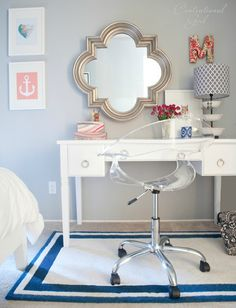 """Clear acrylic, swivel desk chair - visually takes up less space.  """"Acrylic Rumor Chair"""" at Target Dream Rooms, Dream Bedroom, Girls Bedroom, Master Bedroom, Bedroom Decor, Bedroom Office, Bedroom Ideas, Navy Coral Bedroom, Preppy Bedroom"""