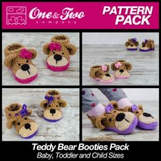 Teddy Bear Booties Pack - Baby, Toddler and Child sizes crochet patterns by One and Two Company