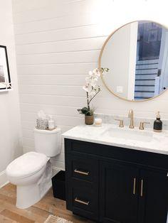 Our Dwelling Powder Room Shiplap Bathroom, Bathroom Renos, Small Bathroom, Bathroom Ideas, Black Cabinets Bathroom, Bathroom Updates, Family Bathroom, Bathroom Inspo, Washroom