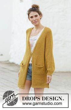 Meet the sun / DROPS - free knitting patterns by DROPS design Knitted long jacket with balloon sleeves and raglan in DROPS Sky. The piece is knitted from top to bottom with a V-neck,. Knit Cardigan Pattern, Crochet Cardigan, Long Cardigan, Knit Crochet, Knitting Patterns Free, Knit Patterns, Free Knitting, Free Pattern, Drops Design