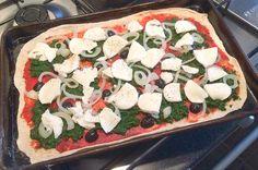 Empty the Freezer Challenge week 3 spinach onion pizza