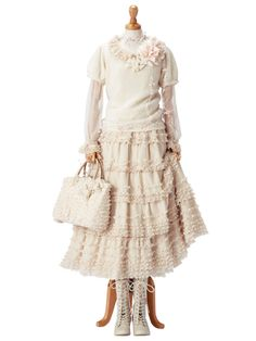 cream short puffed sleeve blouse, long poet sleeve chiffon blouse, cream tiered ruffle knee length full skirt, white lace up boots, white ruffle handbag, flower pin, mori girl