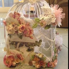 My altered bird cage by Fonny Nurhadi also using Country Estate from Webster and Prima flowers