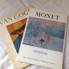 The art books (van gogh) (monet) Art Hoe Aesthetic, Aesthetic Photo, Aesthetic Pictures, Monet, This Is A Book, New Wall, Van Gogh, Wall Collage, Mood Boards
