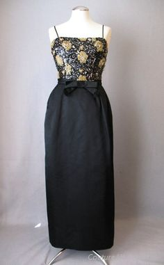 Vintage 60s Evening Gown Dress PAB Beaded Silk Small bust 35 $195 at Couture Allure Vintage Clothing
