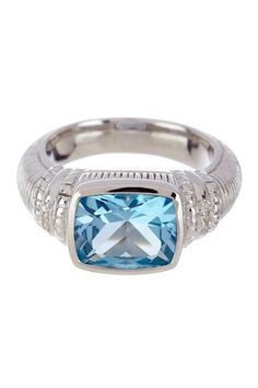 Sterling Silver Blue Topaz Cushion Ring