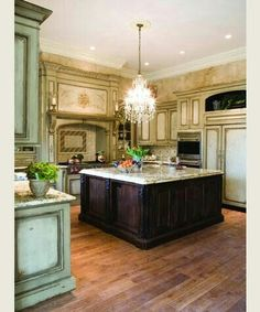 Fancy kitchen!!I love the cabinet color!!
