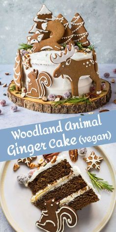 Woodland animal ginger cake - this impressive vegan ginger cake with lemon curd, cream cheese frosting and whimsical gingerbread woodland animals is a real festive showstopper for Christmas! Vegan Christmas Desserts, Vegan Christmas Dinner, Xmas Food, Christmas Sweets, Christmas Baking, Vegan Desserts, Vegan Xmas Cake, Vegan Recipes, Gingerbread Cake
