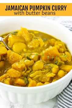 This flavorful Jamaican Pumpkin Curry With Butter Beans Recipe is amazing! Pumpkin, butter beans cooked in mouthwatering coconut curry. Jamaican Cuisine, Jamaican Dishes, Jamaican Recipes, Curry Recipes, Soup Recipes, Vegetarian Recipes, Cooking Recipes, Healthy Recipes, Oven Recipes