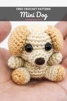 This cute mini dog is easy and quick to crochet and is perfect as a little cuddle buddy, gift or key chain. Get this free amigurumi dog crochet pattern by supergurumi now. Cute Crochet, Crochet Crafts, Crochet Toys, Crochet Projects, Dog Crochet, Crochet Geek, Beginner Crochet, Crochet Beanie, Crochet Amigurumi Free Patterns