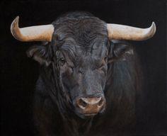 TABLEAU PEINTURE toro taureau noir cornes - toro negro
