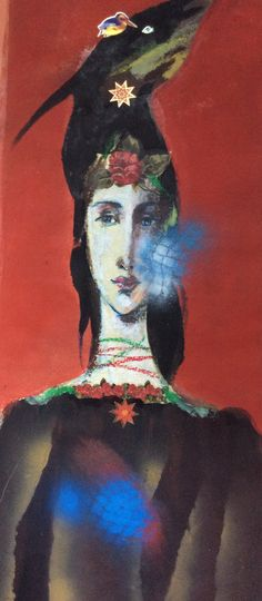 red - woman - Milan Vavro - figurative painting