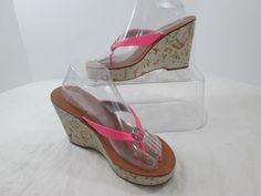 Jessica Simpson Nassan Pink Leather Wedge Heels Platform Sandals Size 9.5 B #JessicaSimpson #PlatformsWedges #Casual