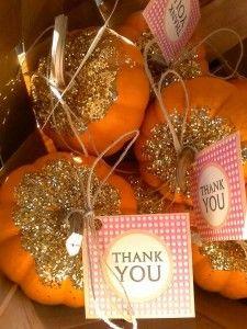 Little pumpkins as baby shower favors