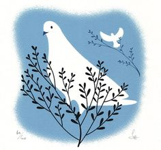 dove print by Sally Elford - blue and black on white and if you look closely, you can see the rasterized border of the sky.