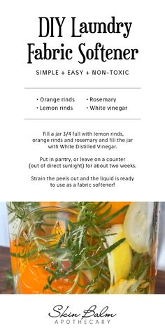 A natural, fabric softener without any harsh nasties! Learn how to make this easy, nontoxic DIY laundry fabric softener. All you need is white vinegar, orange rinds, lemon rinds, and rosemary. Find all the details here! Natural Cleaning Solutions, Natural Cleaning Recipes, Homemade Cleaning Products, Natural Cleaning Products, All You Need Is, Natural Shampoo And Conditioner, Homemade Laundry Detergent, Distilled White Vinegar, Natural Cleaners