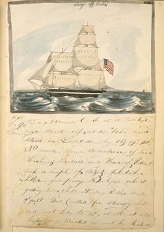 Lucy off Cuba [Ship at sea flying American flag.]