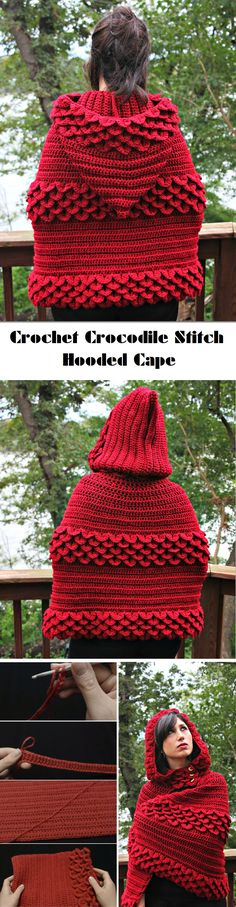 Stitches to Know – Crocodile Stitch – Hooded Cap, Bag, Scarf