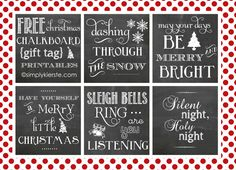 FREE Christmas Chalkboard Gift Tag Printables--SO adorable, and perfect to adorn any gift!  {simplykierste.com} #gifttags #chalkboard #simplykierste #christmas
