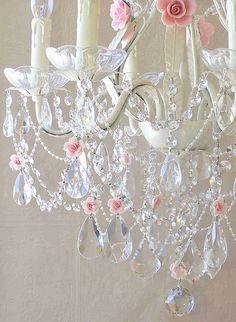 Crystal & pink rose Chandelier by My Lu La Belles ~ so dreamy