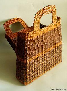 сумки из газетных трубочек. плетение из газет (28)