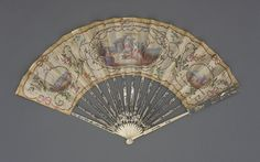 Folding Fan | France, 1770. Silk leaf, ivory sticks, diamond paste and silver metallic rivet