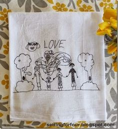 Homemade Mother's Day gifts: Children's artwork tea towels from Setting for Four