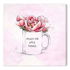 Oliver Gal 'Enjoy The Little Things' Canvas Print ($170) ❤ liked on Polyvore featuring home, home decor, wall art, pink, pink flamingo wall art, pink wall art and pink home decor