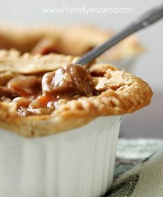 Slow Cooker Beef Pot Pie (Grain Free, Paleo, Crock Pot) from Primally Inspired. For Whole30 eliminate crust.