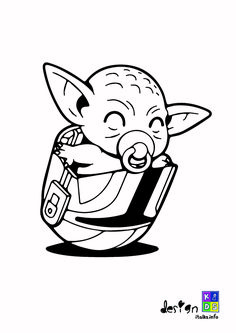 Baby Yoda Coloring Page Simple