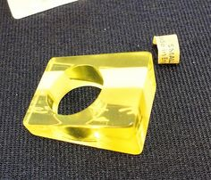 60s clear yellow stripes heavy laminated lucite ring Size 6.5  vintage by LoukiesWorld on Etsy