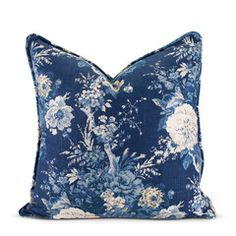 navy floral country southern prep euro bed pillow eurosham wasp decor, $115