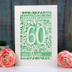 personalised papercut flower birthday card by pogofandango | notonthehighstreet.com 60th Birthday Cards, Flower Birthday Cards, Happy Birthday, Colored Paper, Color Card, Paper Cutting, Unique Gifts, This Or That Questions, Messages
