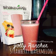 Jolly Rancher Strawberry Watermelon Shakeology Mix water, ice, 1 scoop Tropical Vegan Shakeology, 1/2-1 c. Mixture of watermelon & strawberries, blend. #shakeologyrecipe #cleaneatingrecipe #21dayfixrevipr