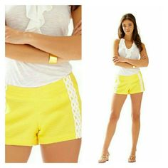 "Lilly Pulitzer Liza Short Super cute Lilly Pulitzer shorts in sunglow yellow color. 3"" inseam. SIZE IS 000 Lilly Pulitzer Shorts"