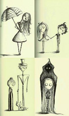 Character designs inspired by Tim Burton, drawn with black biro.