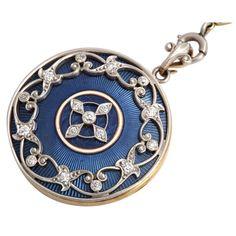 Art Nouveau Locket with Cobalt Blue Guilloche Enamel, by Glorious Antique Jewelry