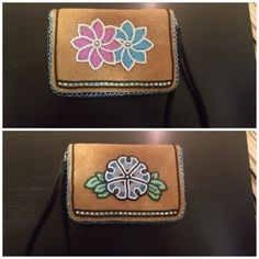 Small purse with beaded moosehide sewn on. #beaded #beadwork #flowers #athabascan
