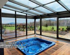 Ogród zimowy z systemem automatycznych żaluzji. - Taras, styl nowoczesny - zdjęcie od Alpina Design Ogrody Zimowe & Szkło Architektoniczne