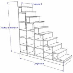 Library stairs for mezzanine Loft Stairs, House Stairs, Exterior Design, Interior And Exterior, Crate Crafts, Mezzanine Bedroom, Building A Cabin, Stairs Architecture, Stair Storage