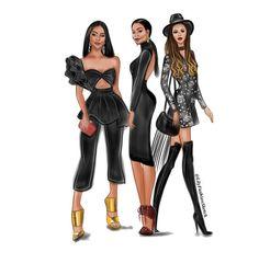 Group of 3 Custom Fashion illustration - Fai ALkhobr Fashion Design Sketchbook, Fashion Design Drawings, Fashion Sketches, Fashion Logo Design, Fashion Prints, Fashion Art, Fashion Models, Fashion Outfits, Patterns Of Fashion