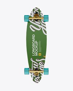 Longboard Mockup with Transparent Wheels - Back View