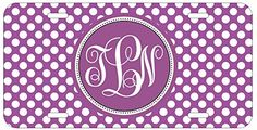 Personalized Monogrammed Chevron Polka Dots Purple Car License Plate Auto Tag Top Craft Case http://www.amazon.com/dp/B00LOWQ89A/ref=cm_sw_r_pi_dp_fsitub015EM5K