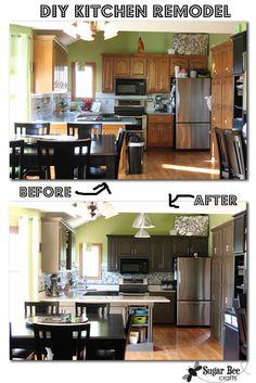 paint those cabinets!!  love these gray ones - - Kitchen Cabinet - Reveal!! (thanks Rustoleum!) ~ Sugar Bee Crafts